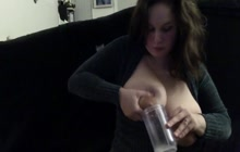 Crazy girl lactating her huge tits