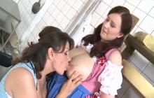 Milena Velba and Steffi Tizzarella in lactation action