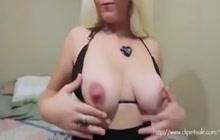 Busty blonde shooting milk from her tits