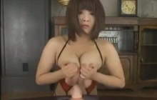 Japanese girl with big lactating boobs